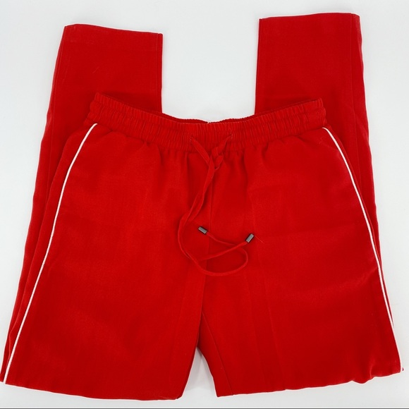 Topshop red high waisted joggers with pockets
